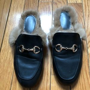 🖤 Black Leather Fur Lined Loafer Slippers 🖤